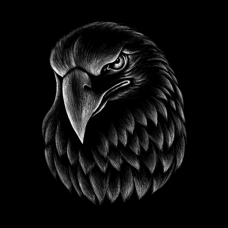 The Vector eagle for T-shirt design or outwear. Hunting style eagle background. 矢量图像