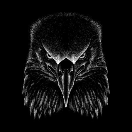 Tシャツのデザインやアウトウェアのためのベクターイーグル。狩猟スタイルのワシの背景。 写真素材 - 104787041