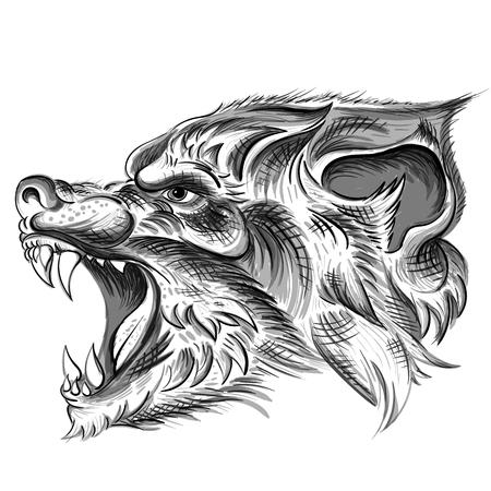 lupo per il design di t-shirt o capispalla. Fondo del lupo di stile di caccia. Vettoriali