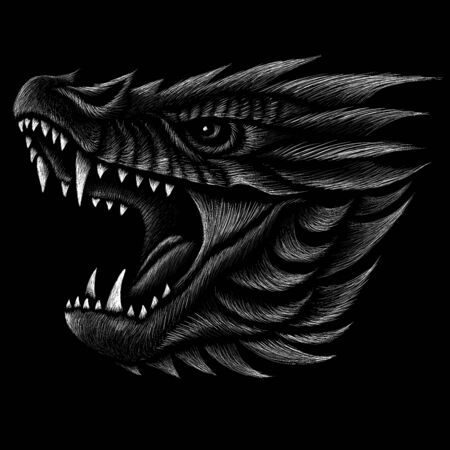 The Vector dragon  or dinosaur on black cloth for T-shirt print  design or outwear.  Hunting style reptile background. This drawing would be nice to make on the black fabric or canvas Ilustrace