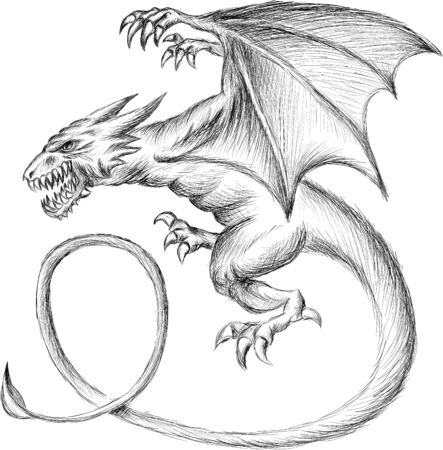 The Vector dragon  or dinosaur on black cloth for T-shirt print  design or outwear.  Hunting style reptile background. This drawing would be nice to make on the black fabric or canvas Illustration