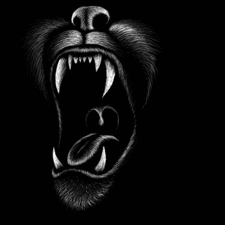 The Vector dog or wolf for tattoo or T-shirt design or outwear. Cute print style dog or wolf background. This drawing would be nice to make on the black fabric or canvas.