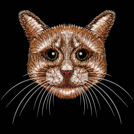 The Vector cat for tattoo or T-shirt design or outwear. Cute print style cat background. This drawing would be nice to make on the black fabric or canvas.