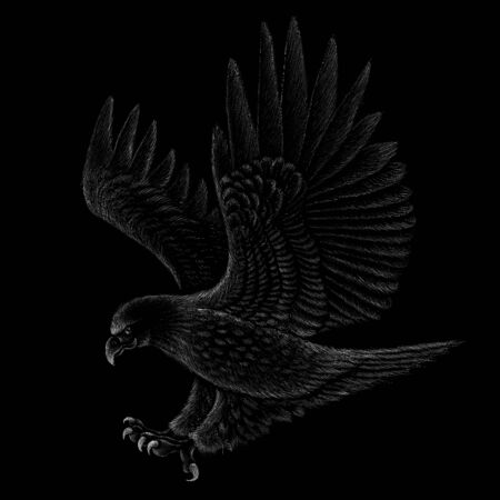 eagle for tattoo or T-shirt design or outwear. Hunting style eagle background. This drawing is for black fabric or canvas. Vectores