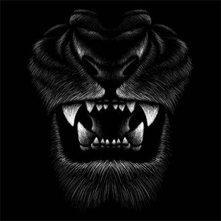 Der Vector Löwe für Tattoo- oder T-Shirt-Print-Design oder Outwear. Jagdstil Löwen Hintergrund. Diese Zeichnung wäre schön auf dem schwarzen Stoff oder der Leinwand zu machen Vektorgrafik