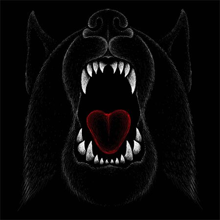 The Vector dog or wolf for tattoo or T-shirt design or outwear.