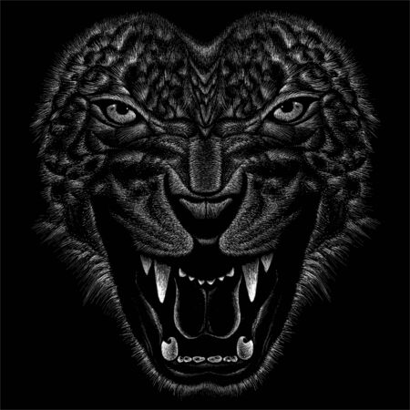 The Vector animal for tattoo or T-shirt print design or outwear. Hunting style angry animal head background