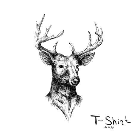 Het Vectorhert voor tatoeage of T-shirtontwerp of uitloper. Leuke hertenachtergrond in printstijl voor canvas