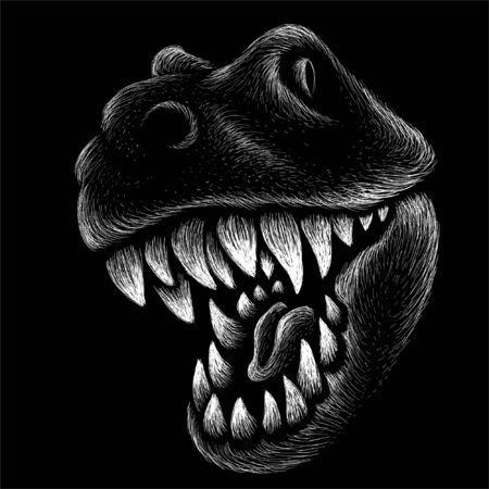 Dragón o dinosaurio sobre tela negra para diseño de estampado de camiseta o ropa exterior. Fondo de reptiles de estilo de caza. Este dibujo sería bueno para hacer en la tela o lienzo negro.