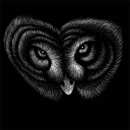 The Vector logo owl for tattoo or T-shirt design or outwear.  Hunting style owl background. This drawing would be nice to make on the black fabric or canvas