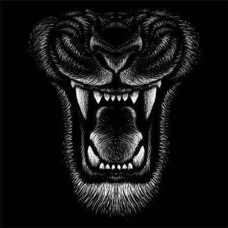 The Vector logo animal for tattoo or T-shirt print design or outwear. Hunting style angry animal head background Logo