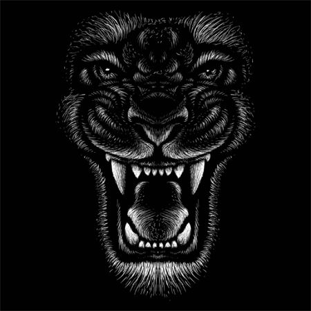 The Vector logo animal for tattoo or T-shirt print design or outwear. Hunting style angry animal head background