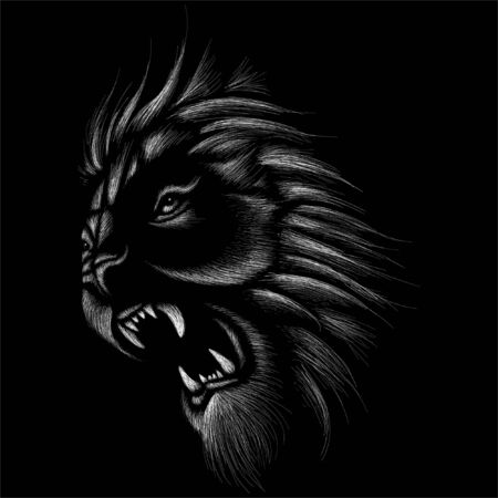 The Vector logo lion for tattoo or T-shirt print design or outwear.  Hunting style lions background. This drawing would be nice to make on the black fabric or canvas. Stock Illustratie
