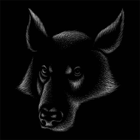 The Vector logo dog  or wolf for tattoo or T-shirt design or outwear.  Cute print style dog  or wolf  background. This drawing would be nice to make on the black fabric or canvas.
