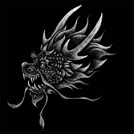 The Vector logo japanese dragon or dinosaur on black cloth for T-shirt print  design or outwear.  Hunting style reptile background. This drawing would be nice to make on the black fabric or canvas