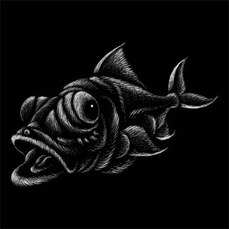 The Vector fish for T-shirt design or outwear.  Fishing style fish background. This hand drawing would be nice to make on the black fabric or canvas