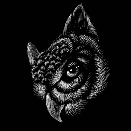 The Vector logo owl for tattoo or T-shirt design or outwear.  Hunting style owl background. This hand drawing would be nice to make on the black fabric or canvas Illustration