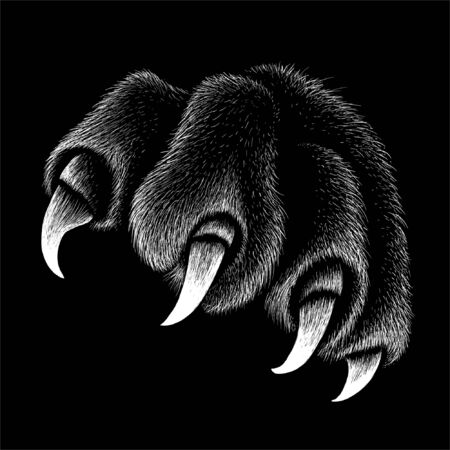 The Vector logo paw with  claws for T-shirt design or outwear. This drawing would be nice to make on the black fabric or canvas