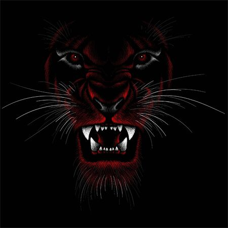 The Vector logo lion for tattoo or T-shirt print design or outwear. Hunting style lions background. This drawing would be nice to make on the black fabric or canvas Logo