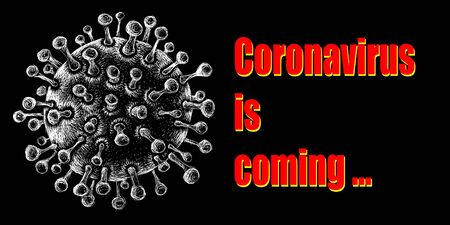 The Vector  COVID-19  biological threat sign coronavirus for tattoo or T-shirt design or outwear.  This drawing would be nice to make on the black fabric or canvas Vectores