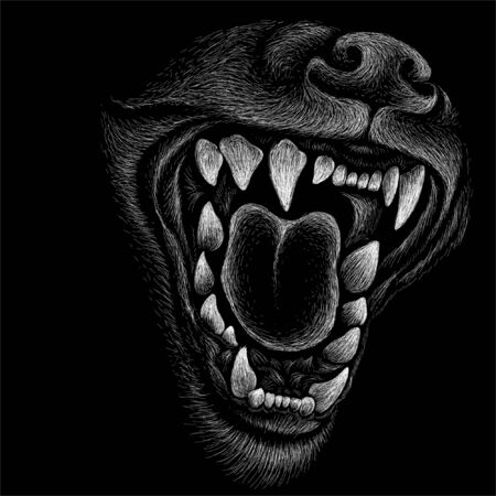 The Vector logo dog or wolf for tattoo or T-shirt design or outwear. Cute print style dog or wolf background. This hand drawing would be nice to make on the black fabric or canvas Logo