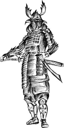 The Vector logo Samurai for tattoo or T-shirt design or outwear.  Cute print style Samurai background. This hand drawing would be nice to make on the black fabric or canvas. Foto de archivo - 145791538