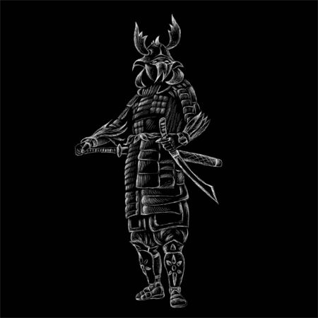 The Vector logo Samurai for tattoo or T-shirt design or outwear.  Cute print style Samurai background. This hand drawing would be nice to make on the black fabric or canvas