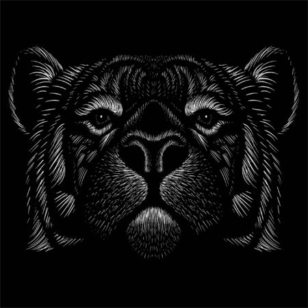 The Vector logo tiger for tattoo or T-shirt design or outwear.  Hunting style tigers print on black background. This hand drawing is for black fabric or canvas