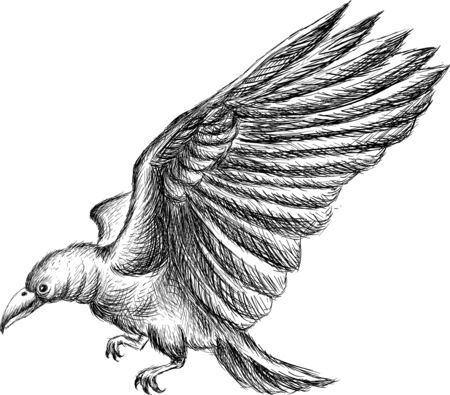 The Vector logo eagle for tattoo or T-shirt design or outwear.  Hunting style eagle background. This hand drawing is for black fabric or canvas.