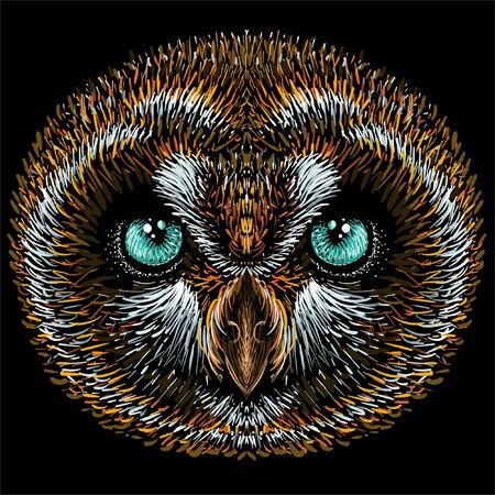 The Vector logo owl for tattoo or T-shirt design or outwear.  Hunting style owl background. This hand drawing would be nice to make on the black fabric or canvas Vectores