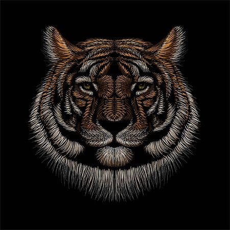 The Vector  tiger for tattoo or T-shirt design or outwear.  Hunting style tigers print on black background. This hand drawing is for black fabric or canvas
