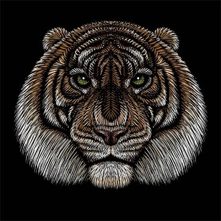 The Vector  tiger for tattoo or T-shirt design or outwear.  Hunting style big cat print on black background. This hand drawing is for black fabric or canvas Vectores