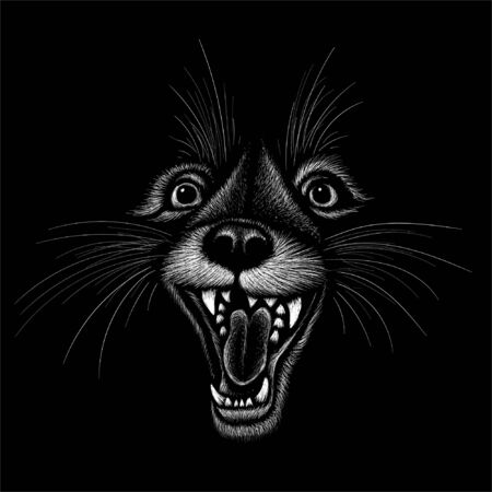 The Vector  animals howling for tattoo or T-shirt design or outwear.  Cute print style animals howling background. This hand drawing would be nice to make on the black fabric or canvas