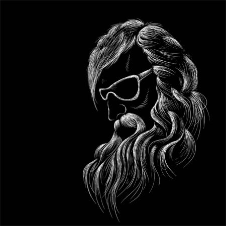 The Vector shaving effect beard and old, retired, sage, elderly, bearded, crested man for T-shirt design or outwear Foto de archivo - 145571102
