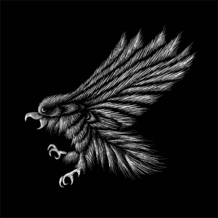 The Vector  eagle for tattoo or T-shirt design or outwear.  Hunting style eagle background. This hand drawing is for black fabric or canvas Foto de archivo - 145571106