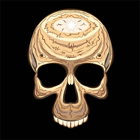 The Vector skulls  tattoo or T-shirt print design or outwear.  Skull Halloween design style background. This drawing would be nice to make on the black fabric or canvas