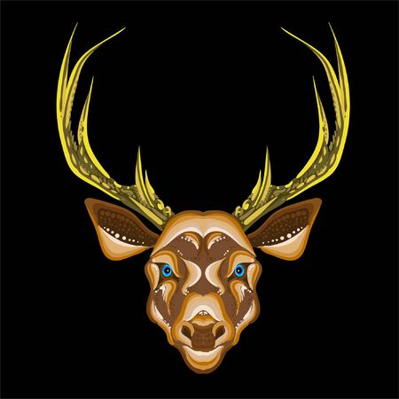 The Vector  deer for T-shirt print  design or outwear.  Hunting style deer background. This drawing would be nice to make on the black fabric or canvas