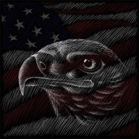 Independence eagle Day July 4th for tattoo or T-shirt design or outwear.  Cute print Independence eagle Day July 4th style background Vectores