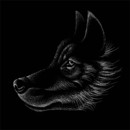 dog  or wolf for tattoo or T-shirt design or outwear.  Cute print style dog  or wolf  background. This hand drawing would be nice to make on the black fabric or canvas Foto de archivo - 146261347