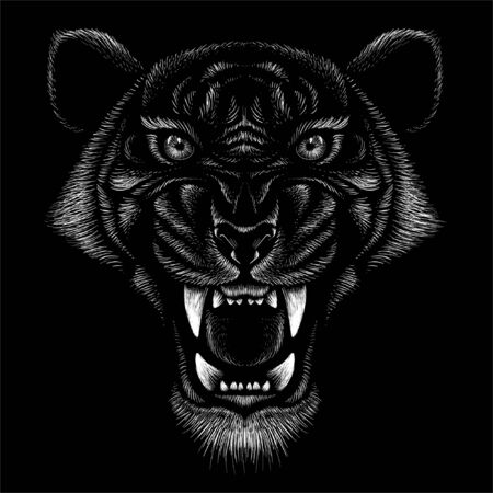 tiger for tattoo or T-shirt design or outwear.  Hunting style big cat print on black background. This hand drawing is for black fabric or canvas Foto de archivo - 146261352
