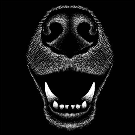 dog or wolf for tattoo or T-shirt design or outwear. Cute print style dog or wolf background. This hand drawing would be nice to make on the black fabric or canvas.