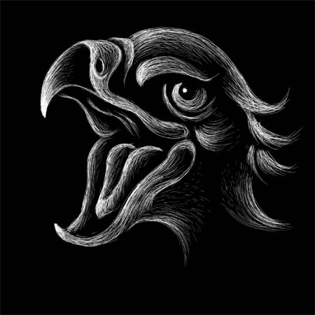 eagle for tattoo or T-shirt design or outwear.  Hunting style eagle background. This hand drawing is for black fabric or canvas Foto de archivo - 146261493