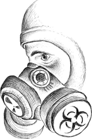 The Vector la person in a respirator with a pelvic mask during a bacteriological or chemical threat for tattoo or T-shirt design or outwear. This hand drawing would be nice to make on the black fabric or canvas