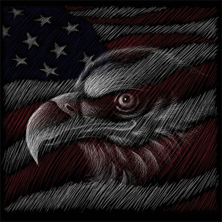 The Independence eagle Day July 4th for tattoo or T-shirt design or outwear.  Cute print Independence eagle Day July 4th style background Ilustracja