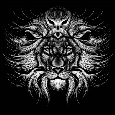 The Vector logo for tattoo or T-shirt print design or outwear. Hunting style lions background. This hand drawing would be nice to make on the black fabric or canvas
