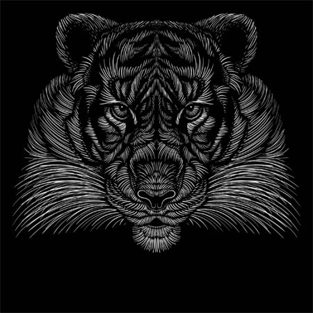 The Vector tiger for tattoo or T-shirt design or outwear. Hunting style big cat print on black background. This hand drawing is for black fabric or canvas