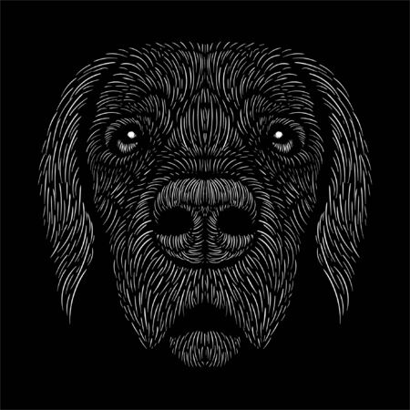 The Vector dog or wolf for tattoo or T-shirt design or outwear. Cute print style dog  or wolf  background. This hand drawing would be nice to make on the black fabric or canvas. Foto de archivo - 147264121