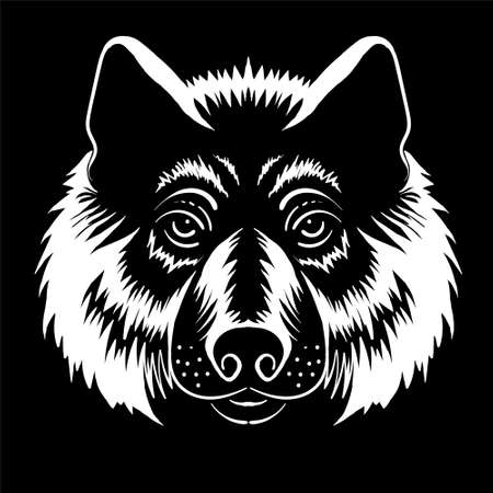 Dog or wolf for tattoo or T-shirt design or outwear. Cute print style dog or wolf background. Foto de archivo - 151396360