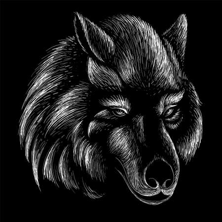 dog or wolf for tattoo or T-shirt design or outerwear. Cute print style dog or wolf background. This drawing would be nice to make on the black fabric or canvas