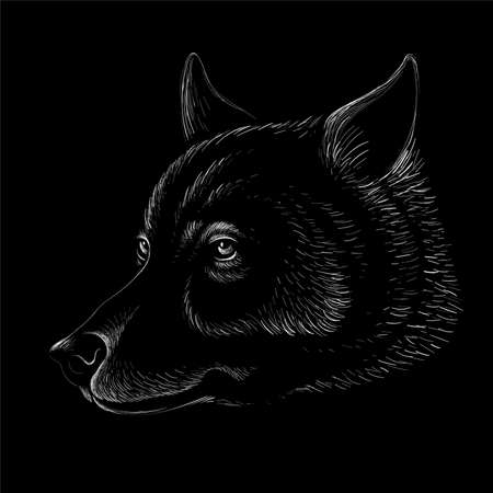dog or wolf for tattoo or T-shirt design or outerwear. Cute print style dog or wolf background. This drawing would be nice to make on the black fabric or canvas.